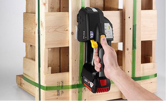 MB820 akumulátorový páskovač 16-19mm (5/8″ to 3/4″) ruční páskovač pro PET a PP pásky s baterií & nabíječkou 4