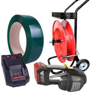 Mechanická páskovačka MB620 set PET páska + odvíječ + baterie + nabíječka