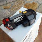 MB820 akumulátorový páskovač 16-19mm (5/8″ to 3/4″) ruční páskovač pro PET a PP pásky s baterií & nabíječkou 3